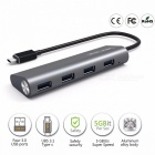 Wavlink Aluminum USB 3.1 Type C to 4-Port USB 3.0 High Speed USB Hub, Support Transfer Rates up to 5Gbps for Laptop MacBook Mac Black