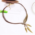 Fashionable Alloy Feather Style Pendant Necklace Vintage Retro Cool Creative Necklace for Women Ladies Gold + Brown