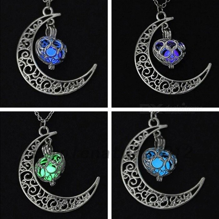 IPARAM Premium Silver Plated Moon Glowing Necklace, Green Stone Charm Jewelry, Perfect Halloween Gift