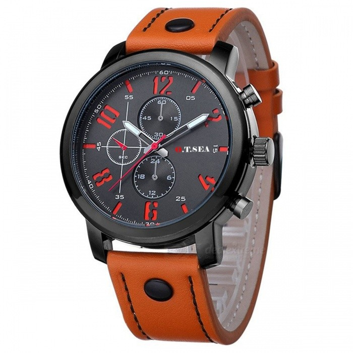 Luxury O.T.SEA Brand Stylish PU Leather Band Watch High Quality Fashion Cool Analog Quartz Wrist Watch for Men