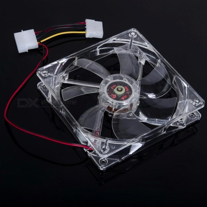 Portable 120 x 120 x 25mm 4-LED Light Quad Clear Case Slient Quite Cooler CPU Cooling Fan for PC Computer