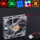Portable 120 x 120 x 25mm 4-LED Light Quad Clear Case Slient Quite Cooler CPU Cooling Fan for PC Computer Red