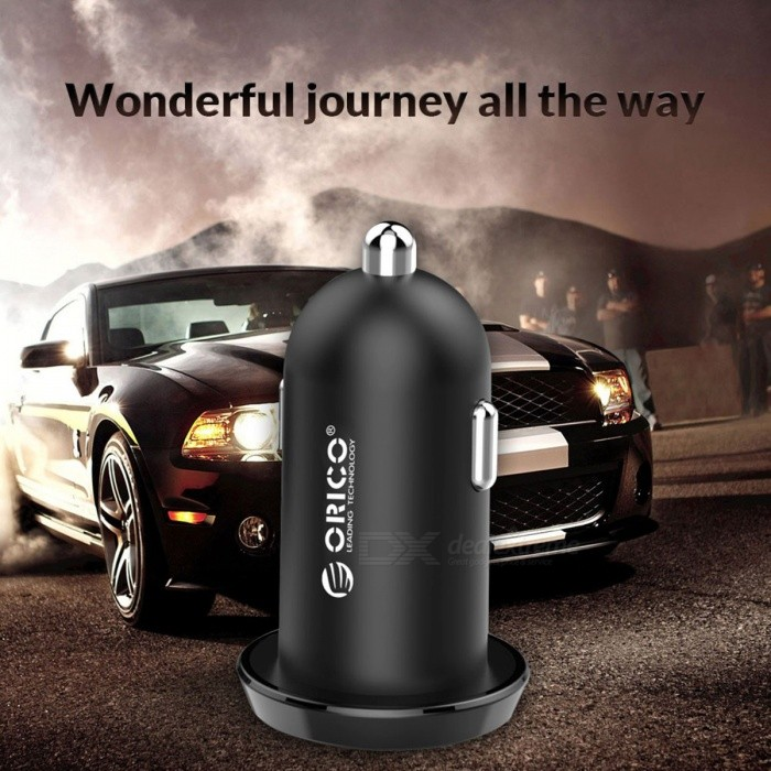 ORICO Dual USB Car Cigar Lighter Charger, 2.4A Intelligent Output 17W Travel Charger for Mobile Phone, DC 12-24V