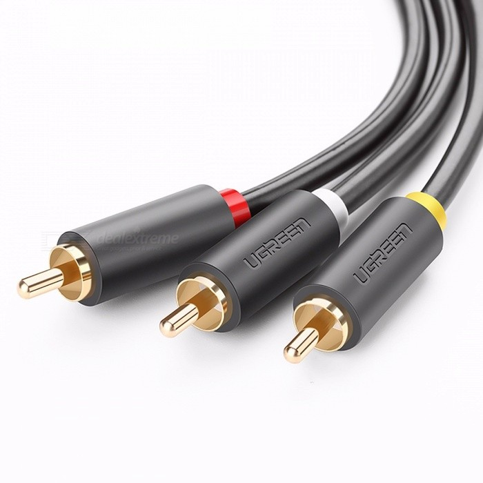 Ugreen Gold Plated 3RCA Male to 3RCA Male Audio Cable, 3X RCA Plug Video Cable for DVD VCD TV Blueplayer Vi 8m/BlackAudio And Video Cables<br>Description<br><br><br><br><br>Connector B: RCA<br><br><br>Application: DVD Player,Multimedia,Television<br><br><br><br><br>Gender: Male-Male<br><br><br>Brand Name: Ugreen<br><br><br><br><br>Packing: Polybag<br><br><br>Connector A: RCA<br><br><br><br><br>Type: AUX Cables<br><br><br>Package: Yes<br><br><br><br><br>Feature: None<br><br><br>Shielding: Other<br>
