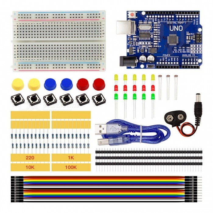 High Quality Starter Kit UNO R3 Mini Breadboard LED Jumper Wire Button Set DIY Tool Kit Set for Arduino