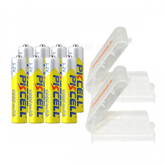PKCELL Ni-MH 1.2V 1000mAh AAA Battery 3A Rechargeable Battery Batteries with Two Battery Holder Case Box - 8PCS