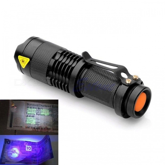 AA Battery Powered Zoomable LED UV Flashlight Torch Light, Ultra Violet Light Blacklight UV Lamp for Marker Checker Detection