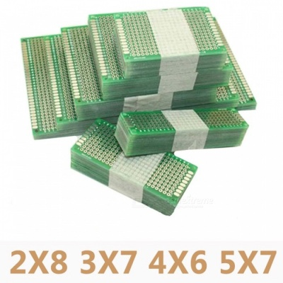 20Pcs/Lot 5x7 4x6 3x7 2x8cm Double Side Prototype DIY Universal Printed Circuit PCB Board Protoboard for Arduino GREEN
