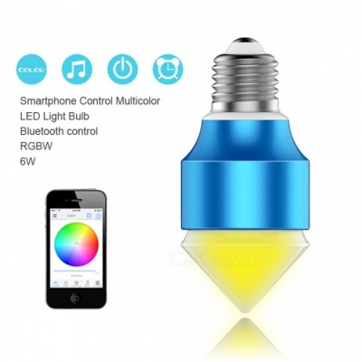 AC100V-AC240V Magic Blue 6W E27 RGBW LED Light Bulb, Bluetooth V4.0 Smart Dimmable Color-changing Lighting Lamp for IOS Android RGBW
