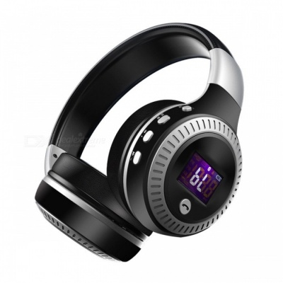 ZEALOT B19 Bluetooth Wireless Stereo Earphone Headphone Headset with Mic, Micro-SD Card Slot, FM Radio for Phone & PC Black