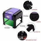 Premium CNC Router Laser Cutter, Mini DIY Print Laser Engraving Lettering Machine w/ 80*80mm Working Area  Purple 1500mw