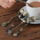 5Pcs/Set Kitchen Dining Bar Vintage Royal Style Bronze Carved Small Coffee Spoon Flatware Cutlery, Mini Dessert Spoon for Snacks Bronze