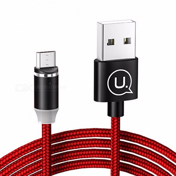 USAMS 2.1A 1.2m Round Nylon Braided Magnetic Fast Charging Charger Cable for IPHONE, Samsung, and Other Mobile Phones