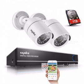 SANNCE 4 Channel 720P DVR CCTV Camera Surveillance System Kit w/ 1TB HDD, 2Pcs 1200TVL 720P IR Outdoor Security Cameras 1T