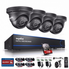 SANNCE 2.0MP 1080P HD 8 Channel DVR AHD Surveillance Kit w/ 4Pcs 3000TVL Outdoor Home Security Cameras, CCTV System with 1TB HDD 1T