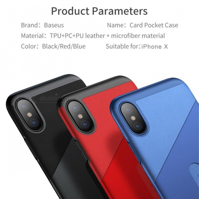 Baseus PU Leather Slim Full Protective Phone Case, Back Cover Shell with Card Slot Pocket for IPHONE