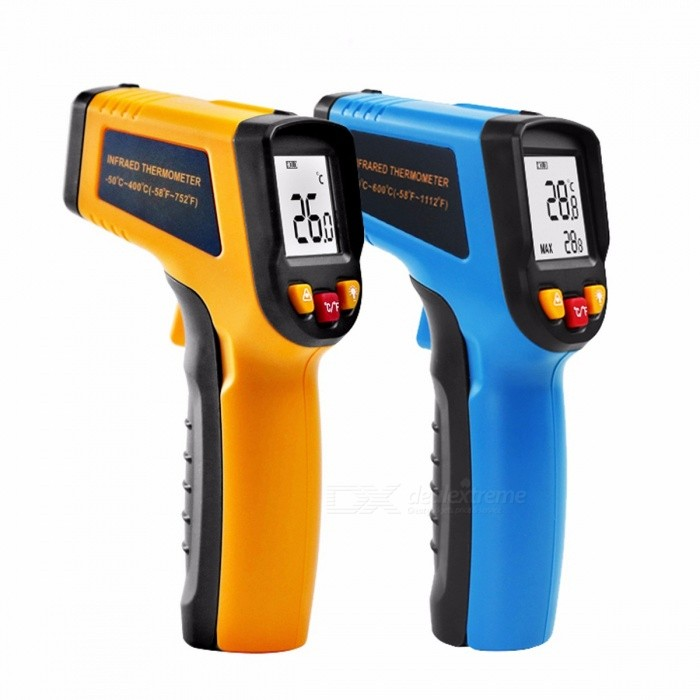 DEKOPRO WD01 Non-Contact Laser LCD Display IR Infrared Digital C/F Selection Surface Temperature Thermometer Pyrometer Imager yellow-400Temperature Instruments<br>Description<br><br><br><br><br>Style: Handheld<br><br><br>Theory: Infrared Thermometer<br><br><br><br><br>Max Measuring Temperature: 120°C  &amp;amp; Above<br><br><br>Brand Name: DEKOPRO<br><br><br><br><br>Usage: Household<br><br><br>Display Type: Digital<br><br><br><br><br>Power Type: AAA Battery<br><br><br>Display Size: 1.9 Inches &amp;amp; Under<br><br><br><br><br><br><br><br><br><br><br><br>Production Description<br><br><br>&amp;nbsp;<br><br><br>Temperature range: -50 ~ 400C (-58~752F).<br><br><br>Accuracy: ±1.5% or ±1.5C<br><br><br>Resolution: ±1% or ±1C<br><br><br>Distance Spot Ratio: 12:1<br><br><br>Emissivity: 0.95 (fixed)<br><br><br>Resolution: 0.1C/0.1F<br><br><br>Red Laser Power: less than 0.5 MW<br><br><br>Power supply: 2 x AAA battery (the batteries are not included)<br><br><br>C/F Selection<br><br><br>Data Hold function<br><br><br>Laser Target Pointer ON/OFF selection<br><br><br>Backlight ON/OFF selection<br><br><br>Auto Power Shut Off in 7 seconds without any operation<br><br><br>Product Dimension: 140 x 85 x 35mm(L*W*H)<br><br><br>The<br> product is used for to measure the surface temperature of: Hot water <br>pipes, Hot engine parts, cooking surfaces, hot tubes &amp;amp; Insulation, <br>Electrical connection, ballasts in electric lights...... ETC<br><br><br>&amp;nbsp;<br><br><br>Package Content:<br><br><br>1x Infrared Thermometer &amp;nbsp;&amp;nbsp;<br>