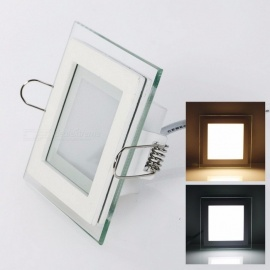 LED Panel Downlight Square Glass Cover Lights High Bright Ceiling Recessed Lamp with Driver 6W 9W 12W 18W AC 85~265V round 6w/Warm White
