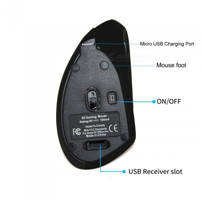 Wireless Optical Ergonomic Vertical Mouse, 800/1200/1600 DPI Computer Gaming Mouse Mice for Laptop PC Gamer