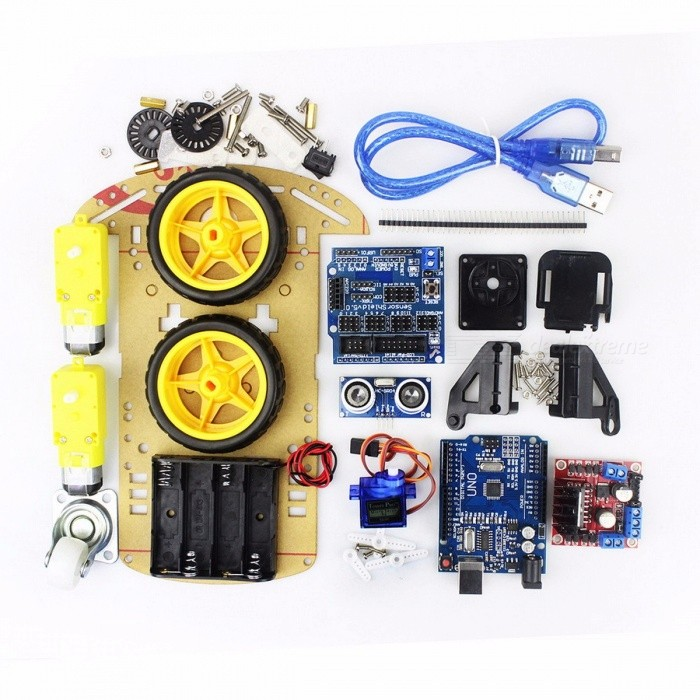 Electronic Motor Smart Robot Car Chassis Kit Speed Encoder Battery Box 2WD Ultrasonic Module for Arduino DIY Kit corlorfulKits<br>Description<br><br><br><br><br>Brand Name: HESAI<br><br><br>Type: Voltage Regulator<br><br><br><br><br>Condition: New<br><br><br><br><br><br><br><br><br><br><br><br>Our car chassis has the following advantages:<br><br>&amp;nbsp;&amp;nbsp;&amp;nbsp;1 mechanical structure is simple and very easy to install.<br><br><br>&amp;nbsp;&amp;nbsp;&amp;nbsp;2<br> car comes with 20 wire tachometer yards, with photoelectric gun shop <br>can be quickly formed a gun systems. You can speed, distance, composed <br>of closed-loop systems.<br><br><br>&amp;nbsp;&amp;nbsp;&amp;nbsp;3<br> car with four on the 5th battery compartment, convenient to the entire <br>system power supply. At the same time equipped with a switch, easy <br>start-stop system. Without additional very convenient, so that the whole<br> system is highly integrated<br><br><br>&amp;nbsp;&amp;nbsp;&amp;nbsp;4<br> car shop with L298N driver module, four tracking module, as well as 51 <br>control unit seamless, simple and good-looking components of the system!<br><br><br><br><br><br><br><br>&amp;nbsp;&amp;nbsp;&amp;nbsp;Shipping list:<br><br><br>&amp;nbsp;&amp;nbsp;&amp;nbsp;Car chassisX1<br><br><br>&amp;nbsp;&amp;nbsp;&amp;nbsp;Car WheelsX 2<br><br><br>&amp;nbsp;&amp;nbsp;&amp;nbsp;DC Gear Motor 1 48: a deceleration DC motor (otherwise 120: 1 Optional)<br><br><br>&amp;nbsp;&amp;nbsp;&amp;nbsp;20 line gun code disk X2<br><br><br>&amp;nbsp;&amp;nbsp;&amp;nbsp;Fasteners (high intensity black acrylic)X 4<br><br><br>&amp;nbsp;&amp;nbsp;&amp;nbsp;Caster X1<br><br><br>&amp;nbsp;&amp;nbsp;&amp;nbsp;Four battery boxX 1<br><br><br>&amp;nbsp;&amp;nbsp;&amp;nbsp;Quality Rocker SwitchX 1<br><br><br>&amp;nbsp;&amp;nbsp;&amp;nbsp;Assembly drawingX 1<br><br><br>&amp;nbsp;&amp;nbsp;&amp;nbsp;Several screw nut<br><br><br>&amp;nbsp;&amp;nbsp;&amp;nbsp;V5 shield X1<br><br><br>&amp;nbsp;&amp;nbsp;&amp;nbsp;UNO R3 X 1<br><br><br>&amp;nbsp;&amp;nbsp;&amp;nbsp;SG90 X 1<br><br><br>&amp;nbsp;&amp;nbsp;&amp;nbsp;FPV X 1<br><br><br>&amp;nbsp;&amp;nbsp;&amp;nbsp;L298N X1<br>