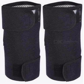 Health Care Tourmaline Self-Heating Knee Leggings Brace Support Magnetic Therapy Knee Pads Adjustable Knee Massager A2 - Pair Black