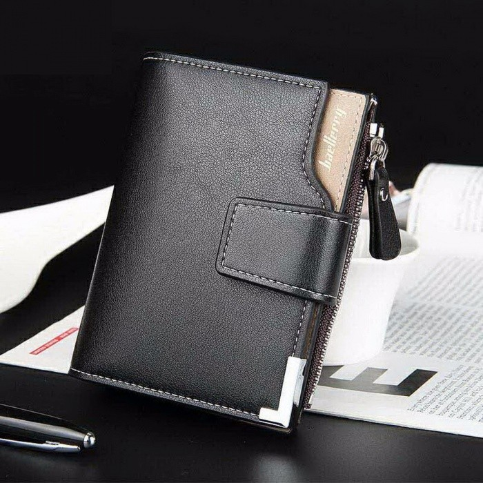 Baellerry Simple Men's PU Leather Wallet Purse, Short Style Clutch Leather Purse Money Bag w