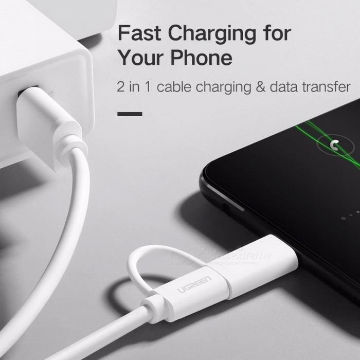 Ugreen 2-in-1 Micro USB Type-C USB-C Fast Charge Charging Data Cable for Samsung Xiaomi 4C Nexus 5X 6P Android Phone