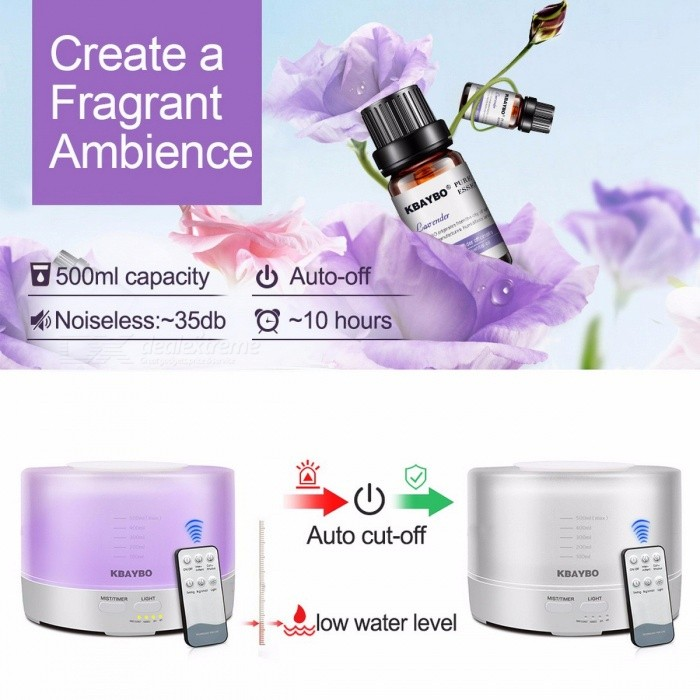 Remote Control 500ml Ultrasonic Air Aroma Humidifier With 7 Color LED Lights Electric Aromatherapy Essential Oil Aroma Diffuser