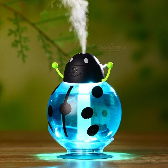 Beetle 260ML USB Air Humidifier Aroma Aromatherapy Essential Oil Diffuser, Mini Portable Mist Maker w/ LED Night BlueDescription<br><br><br><br><br>Power Type: A.C. Source<br><br><br>Certification: CE,Other<br><br><br><br><br>Classification: Humidification<br><br><br>Humidification Method: Mist Discharge<br><br><br><br><br>Power (W): 1w<br><br><br>Water-shortage Power-off Protection: Yes<br><br><br><br><br>Application: 11-20?<br><br><br>Brand Name: EASEHOLD<br><br><br><br><br>Voltage (V): 12V<br><br><br>Type: Ultrasonic Humidifier<br><br><br><br><br>Humidifying Capacity: 30ml/h<br><br><br>Noise: &amp;lt;36db<br><br><br><br><br>Timing Function: Yes<br><br><br>Humidity Control: Touch-tone<br><br><br><br><br>Shape: Cartoon<br><br><br>Installation: Mini<br><br><br><br><br>Function: Aromatherapy<br><br><br>Mist Outlet Quantity: One<br><br><br><br><br>Operation Method: Remote Control<br><br><br>Capacity: Other<br><br><br><br><br>Use: Other<br><br><br><br><br><br><br><br><br><br><br><br><br>Characteristics: <br><br><br>Eliminate odors and odors. <br><br><br>Increase air humidity, reduce dust and bacteria. <br><br><br>Hydration of the skin. <br><br><br>Lightweight mini design, very easy to use, USB interface. <br><br><br>You can place the aroma oil in the water to make the air fresher. <br><br><br>Is ideal for your home, office and car use. <br><br><br>Specifications: <br><br><br>Material: ABS <br><br><br>Color: blue, yellow, red <br><br><br>Voltage: DC 5 V <br><br><br>Power: 1 W <br><br><br>Humidifier Size: approx: 7.5 * 7.5 * 12 cm / 3 * 3 * 4.8in (L * W * H) <br><br><br>Humidifier Weight: 75g / 2.14oz <br><br><br>USB Cable Length: 130cm / 51.2in <br><br><br>The Amount of Fog: 25 ML / H <br><br><br>Package Size: 7.5 * 8 * 12.5 cm / 3 * 3.15 * 0.5in (L * W * H) <br><br><br>Package Weight: 138g / 4.16oz <br><br><br>Package List: <br><br><br>1 * Mini Humidifier <br><br><br>1 * USB Cable <br><br><br>2 * Filter Absorbente Palos<br>
