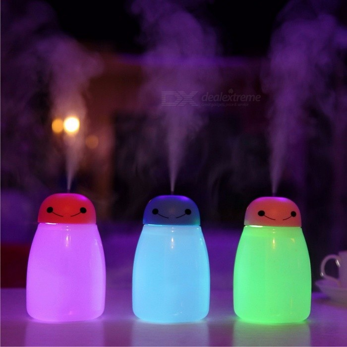 New Mini Cute USB Ultrasonic Essential Oil Diffuser Air Humidifier with Night Light, Mist Maker Fogger for Home Office