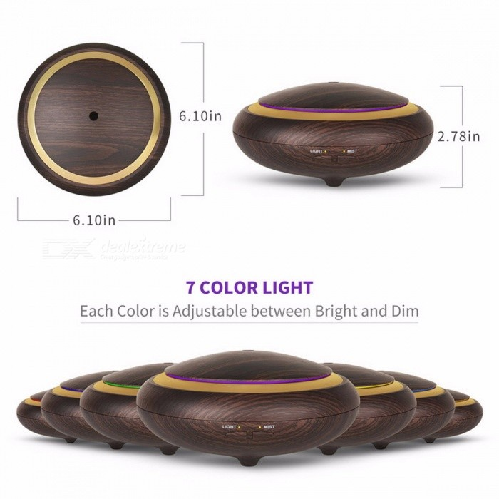 DEVISIB 150ML UFO Shape Wood Grain Essential Oil Diffuser, Ultrasonic Aroma Cool Mist Humidifier for Office Bedroom Study Yoga