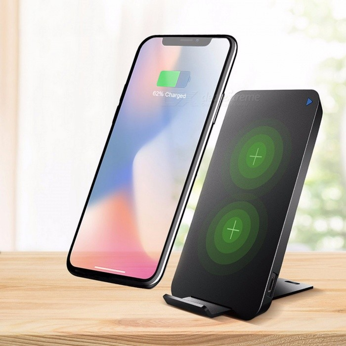 best loved 985a6 63bd8 ROCK 10W Dual Coil Qi Wireless Charger, Fast Charging Pad Docking Dock  Station for IPHONE X 8 Samsung Note 8 S8 Plus S7 S6 Edge Black