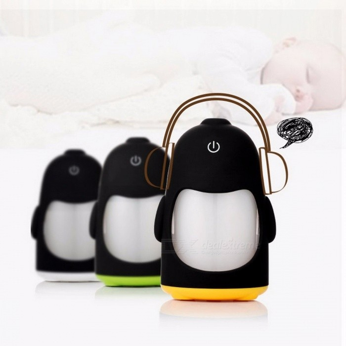 Mini Penguin Shape USB Ultrasonic Air Humidifier with 7-Color LED Light, Essential Oil Diffuser Mist Maker Gift