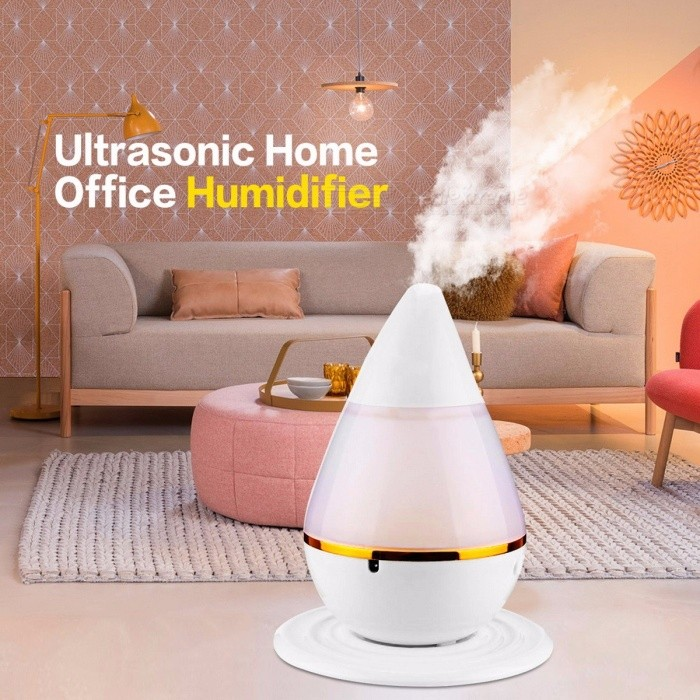 Mini Waterdrop Shape USB Ultrasonic Humidifier w/ LED Light, Aroma Air Moist Moisture Diffuser Purifier Atomizer for Home Office
