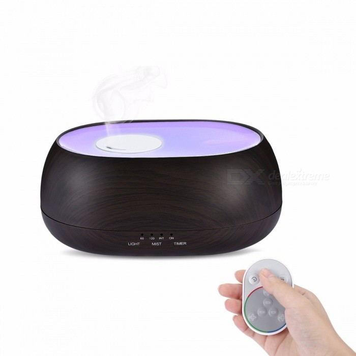 Fimei 500ML Wood Grain Remote Control Air Humidifier, Ocean Mist Aroma Aromatherapy Oil Diffuser w/ Night Light for Home Office
