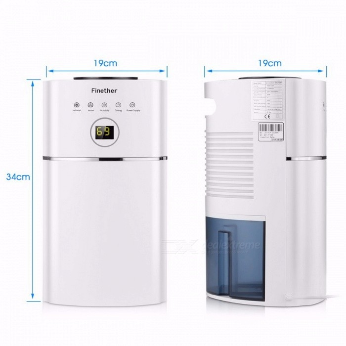 Finether DS01A-01 digitale luchtontvochtiger 2.4L capaciteit anion ...