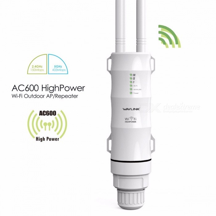 Wavlink AC600 30dbm High Power Weatherproof Wireless Wi-Fi Router/AP Repeater with Dual Band 5G/2.4G Outer Detachable Antenna EU PlugRouters<br>Description<br><br><br><br><br>Wi-Fi Transmission Standard: 802.11ac<br><br><br>Function: Firewall<br><br><br><br><br>With Modem Function: No<br><br><br>2.4G Wi-Fi Transmission Rate: 150 Mbps<br><br><br><br><br>LAN Ports: 1<br><br><br>5G  Wi-Fi Transmission Rate: 433Mbps<br><br><br><br><br>Supports WPS: Yes<br><br><br>Standards And Protocols: Wi-Fi 802.11g,Wi-Fi 802.11n,Wi-Fi 802.11b<br><br><br><br><br>Wired Transfer Rate: 10/100Mbps<br><br><br>Package: Yes<br><br><br><br><br>Application: Soho<br><br><br>Max. LAN Data Rate: 600Mbps<br><br><br><br><br>WAN Ports: 1 x10/100Mbps<br><br><br>Supports WDS: Yes<br><br><br><br><br>Wi-Fi Supported Frequency: 2.4G &amp;amp; 5G<br><br><br>Brand Name: wavlink<br><br><br><br><br>Type: Wireless<br><br><br><br><br><br><br><br><br><br><br><br><br>Wavlink - Bringing Technology to Life<br> WN570HA1 is designed to provide WISP, CPE solutions and long-range <br>wireless network solution for video surveillance and transmission. With <br>two omni-directional 30dbm<br> dual-polarized antennas and strong <br>transmit power of up to 1000mW, it provides a compelling performance <br>solution for small and growing business at a very affordable price and <br>also provides an efficient way to pick up and maintain a stable signal <br>for a wireless network connection from long distance.<br><br><br>High power, AC600, outdoor, weatherproof, access point, omni-directional antenna, CPE, PoE, 2.4GHz, 5GHz, 802.11ac<br><br><br>&amp;nbsp;<br><br><br>Description <br><br><br>. The AC600 AP/Router is mainly used for providing free WiFi service in big area such as factory, community, street or etc. <br><br><br>. The AP/Router can take an existing <br>2.4GHz or 5GHz wireless signal, repeater and extend it to a longer range<br> where it is too far away for the router or access point to reach. <br><br><br>. Build-in High Power Technology. Support Repeater, AP, router Mode. <br><br><br>. Features up to 1000 mW of power and enhanced receiver design. <br><br><br>. Robust weatherproof casewithstands harsh outdoor conditions. <br><br><br>. Weater-proof RJ45 connector, integrated Passive Power over Ethernet. <br><br><br>. Build inlighting arrester. ( 15kV ESD ). <br><br><br>. Support 3 LEDs wireless signal strength. <br><br><br>&amp;nbsp;<br><br><br><br>Withstand harsh climates<br> WN570HA1 has an IP65-rated weatherproof housing that ensures continued <br>operation on harsh outdoor environments or in climates of extreme cold, <br>heat or continuous moisture.<br><br><br><br>Easy Installation With Power over Ethernet(POE)<br> By combing your power and data connection into a single cable, PoE <br>simplifies the setup of the High power Outdoor WiFi Access Point/Bridge.<br> Combining power and network access into a single RJ-45 connection for <br>the WN570HA1 allow you to install the WN570HA1 in hard to reach location<br> without worrying about running both power and Ethernet cables.<br><br><br><br>How Does it Work?<br> 1.Slide the straps through the slots on the back of the AP/Router and tighten the straps around the hole.<br> 2.Connect one end of an LAN cable to the PoE port of the provided Power<br> injector and the other end of the LAN cable to the LAN port of the <br>AP/Router.<br> 3.Use another LAN cable to connect the LAN port of the power supply.<br> 4.Plug the power adapter into a wall socket.<br><br><br><br>Specifications:<br> 1.Operating Temperature: -30°C~70°C(-22 ~158F)<br> 2.Storage Temperature: -40°C~70°C(-40~158F<br> 4.Voltage: 100-240V<br> 5.Support 2.4 GHz 5GHz<br> 6.Standard:802.11 ac/a/b/g/n<br> 7.Maximum WLAN security with WPA2,WPA and WEP(128/64)<br> &amp;nbsp;<br><br><br><br>What's in the package?<br> 1 x WiFi AP/Router<br> 2 x Antenna<br> 1 x power Adapter<br> 1 x POE Converter<br> 1 x RJ-45 Networking Cable<br> 1 x Main body holder<br> 1 x Screw fitting<br> 2 x Cable ties<br> 1 x Quick Installation<br><br><br><br>Note:<br>-Select the wireless network with a signal strength greater than 70% to get the most reliable connection.<br>-The outdoor antenna should be installed at a height of 2 meters above the roof or in a high open place for better reception.<br>