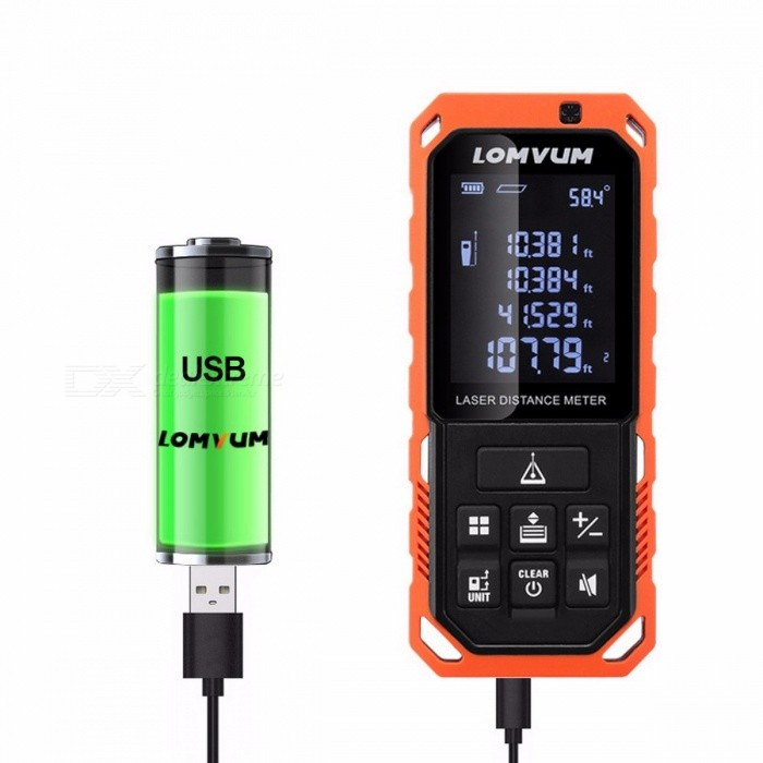 LOMVUM LD Portable 100m Digital Laser Rangefinder, Rechargeable Battery Auto Level Laser Distance Meter LD 100MOther Measuring &amp; Analysing Instruments<br>Description<br><br><br><br><br>Power Type: Battery-Powered<br><br><br>Brand Name: LOMVUM<br><br><br><br><br><br><br><br><br><br><br><br> <br><br><br>&amp;nbsp;&amp;nbsp;&amp;nbsp;&amp;nbsp;&amp;nbsp;<br> Utilizing precision laser technology, the LOMVUM laser distance meter <br>kit provides fast, easy, and accurate measurements every time you use <br>it. Pocket-sized for easy portability, this handy tool offers length, <br>area, and volume measurements in inches, feet, and metric units. <br><br><br>&amp;nbsp;&amp;nbsp;&amp;nbsp;&amp;nbsp;&amp;nbsp;<br> The Compact Laser Measuring Tool measures and displays length; <br>calculates and displays area; and displays continually updated <br>measurements as you move it toward or away from the target. <br><br><br>&amp;nbsp;&amp;nbsp;&amp;nbsp;&amp;nbsp;&amp;nbsp;<br> Ideal for interior decorating, remodeling, floor and wall coverings, <br>real estate estimation and appraisal, it is the quick, easy and accurate<br> way to measure, even at walking-out distances. <br><br><br> <br><br>&amp;nbsp;&amp;nbsp;&amp;nbsp;&amp;nbsp;&amp;nbsp;&amp;nbsp;&amp;nbsp;&amp;nbsp;&amp;nbsp; LOMVUM LD laser distance meter has following features: <br><br>&amp;nbsp;&amp;nbsp;&amp;nbsp;&amp;nbsp;&amp;nbsp; 1. Auto-level, which can easily measure the distance or angle to the point. <br><br><br>&amp;nbsp;&amp;nbsp;&amp;nbsp;&amp;nbsp;&amp;nbsp; 2. 20 units data storage <br><br><br>&amp;nbsp;&amp;nbsp;&amp;nbsp;&amp;nbsp;&amp;nbsp; 3. IP65:&amp;nbsp;&amp;nbsp;Ingress Protection 65. Can be use in raining&amp;nbsp;day &amp;nbsp; &amp;nbsp; <br><br><br>&amp;nbsp;&amp;nbsp;&amp;nbsp;&amp;nbsp;&amp;nbsp; 4. Tripod hole: M1/4 <br><br><br>&amp;nbsp;&amp;nbsp;&amp;nbsp;&amp;nbsp;&amp;nbsp; 5. Large LCD with backlight. <br><br><br>&amp;nbsp;<br><br><br><br><br><br><br><br>Specifications <br><br><br><br><br>Product Information <br><br><br><br><br><br><br>Model <br><br><br><br><br>LD <br><br><br><br><br>Power<br><br><br><br><br>AAA 1.5V?3pcs&amp;nbsp;(battery not included)<br><br><br><br><br><br><br>Accuracy (in)<br><br><br><br><br>±2mm<br><br><br><br><br>Product battery<br><br><br><br>Ni-MH reachareable battery(not included)<br><br><br><br><br><br>Measuring Distance (m)<br><br><br><br><br>0.2-40/60/80/100m<br><br><br><br><br>Product Color<br><br><br><br>Orange and black<br><br><br><br><br><br>Unit<br><br><br><br><br>m/in/ft<br><br><br><br><br>Product Size<br><br><br><br>115*49*26mm<br><br><br><br><br><br>Laser Class<br><br><br><br><br>630-670 nm, II class<br><br><br><br><br>Standard Individual Packaging<br><br><br><br><br>Laser meter, bag, laser receiver, lanyard,usb<br><br><br><br><br><br><br>Functions <br><br><br><br><br><br><br>Continuous Measurement<br><br><br><br><br>?<br><br><br><br><br>Data Storage<br><br><br><br><br>20<br><br><br><br><br><br><br>Area/Volume Calculation<br><br><br><br><br>?<br><br><br><br><br>Measurement times per batteries<br><br><br><br><br>more than 5000 times<br><br><br><br><br><br><br>Pythagoras Theorem Calculation<br><br><br><br><br>?<br><br><br><br><br>Operate Temperature<br><br><br><br><br>0C ~ 40C<br><br><br><br><br><br><br>Add/Subtract<br><br><br><br><br>?<br><br><br><br><br>Bubble Level<br><br><br><br>Auto level<br><br><br><br><br><br>Length Add/Subtract<br><br><br><br><br>?<br><br><br><br><br>Auto Laser Off<br><br><br><br><br>?<br><br><br><br><br><br><br>Area Add/Subtract<br><br><br><br><br>?<br><br><br><br><br>Auto Power Off<br><br><br><br><br>?<br><br><br><br><br><br><br>Volume Add/Subtract<br><br><br><br><br>?<br><br><br><br><br>MAX/MIN<br><br><br><br><br>?<br>