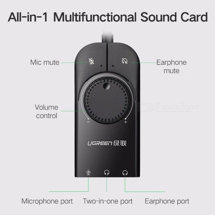 Ugreen USB External Audio Sound Card, 3.5mm USB Adapter w/ USB to Earphone Headphone Audio Interface for Computer
