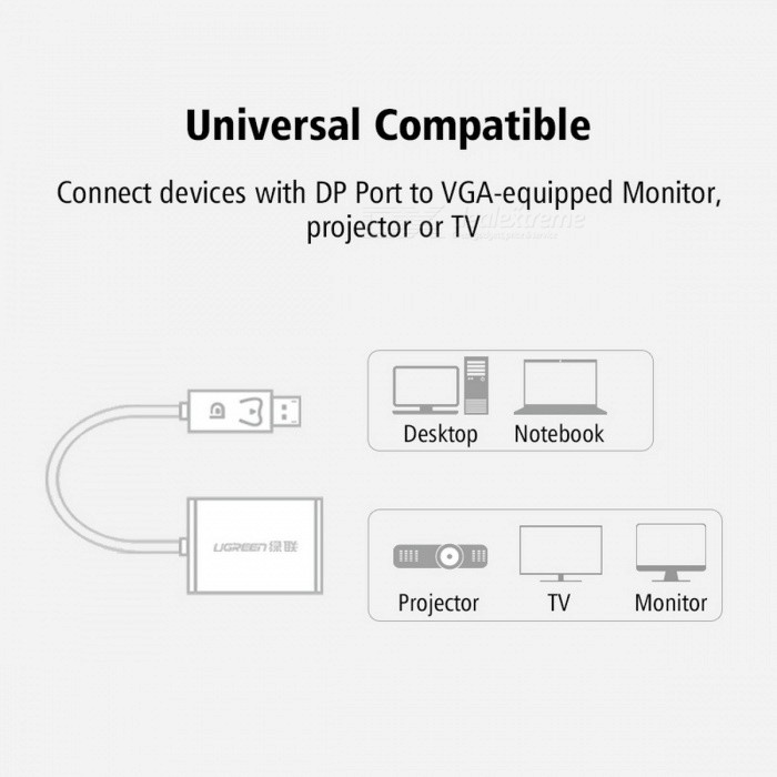 Ugreen DisplayPort 1080P DP to VGA Male to Female Adapter Cable Converter Display Port For Projector TV Player Macbook Air