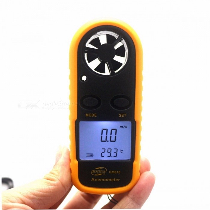 GM816 Portable Mini Digital Anemometer, Wind Speed Meter, Air Guage Thermometer with LCD Backlight Display yellowTesters &amp; Detectors<br>Description<br><br><br><br><br>Brand Name: KETOTEK<br><br><br><br><br><br><br><br><br><br><br><br><br>Features: <br><br><br>&amp;nbsp;<br><br><br><br>Brand new and high quality. <br><br><br>This<br> handy palm sized anemometer is ideal for weather enthusiast, lovers of <br>kite flying, kite-surfing, wind-surfing, paragliding and sailors. <br><br><br>Measure wind speed and temperature. <br><br><br>Large easy-to-read LCD display with backlight. <br><br><br>Wind speed in Beaufort wind scale bar graph. <br><br><br>Wind chill indication. <br><br><br>Data hold function. <br><br><br>High precision pressure sensor. <br><br><br>Quick response, external thermistor. <br><br><br>Auto/manual power off. <br><br><br>Temperature display in Celsius Fahrenheit. <br><br><br>Current/max/average wind speed reading. <br><br><br>Powered by a 3V CR2032 battery. <br><br><br><br>&amp;nbsp;<br><br><br>Specifications: <br><br><br>&amp;nbsp;<br><br><br><br>Air Velocity. <br><br><br>Range: 0 - 30m/s, 0 - 90km/h, 0 - 5860ft/min, 0 - 65mph, 0 - 55Knots. <br><br><br>Resolution: 0.1m/s, 0.3km/h, 19ft/min, 0.2mph, 0.2Knots. <br><br><br>Threshold: 0.1m/s, 0.3km/h, 39ft/min, 0.2mph, 0.1Knots. <br><br><br>Accuracy: +/- 5%. <br><br><br>Air Temperature&amp;nbsp;Range: -10°C ~ +45°C, 14°F~ 113°F. <br><br><br>Resolution: 0.2°F, 0.36°F. <br><br><br>Accuracy: ±2°C, ±3.6°F. <br><br><br>Thermometer: NTC Thermometer. <br><br><br>Operating Temperature: -10°C ~ +45°C (14°F~ 113°F ). <br><br><br>Operating Humidity: Less than or equal to 90% RH <br><br><br>Storage Temperature: -40°C ~ +60°C, -40°F ~140°F. <br><br><br>Current Consumption: About 3mA. <br><br><br>Wind speed range: 0-30m/s. <br><br><br>Wind speed unit: m/s, Km/h, ft/min, Knots, mph. <br><br><br>Dimensions: 10.7cm x 4.5cm x 2.1cm - 4.21inch x 1.77inch x 0.83inch. <br><br><br><br>&amp;nbsp;<br><br><br>&amp;nbsp;Packag
