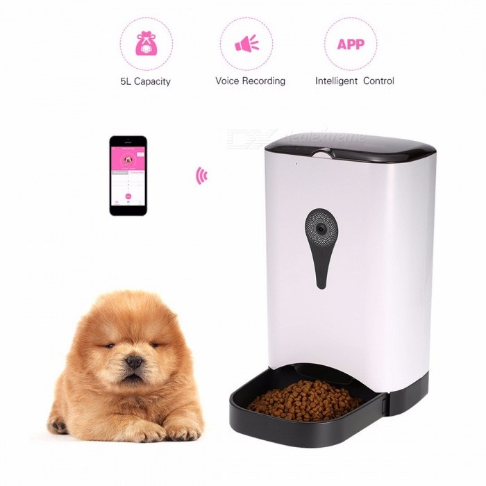 Smart Cat Dog Feeder Automatic Pet Feeder Auto Food Dispenser 5L Storage with Voice Recorder APP Pet Feeder