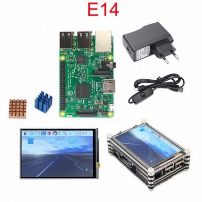 Starter Kit Raspberry Pi 3 Original Raspberry Pi 3 + 3.5 inch Touchscreen + 9-Layer Acrylic Case + 2.5A Power Plug + Heat Sink Bundle 2