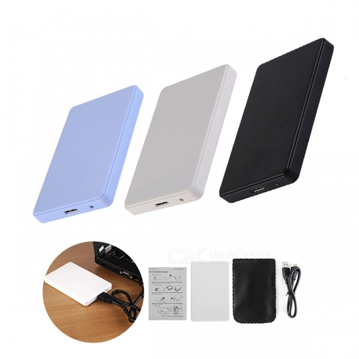 2.5 USB 3.0 SATA HD Box 1TB HDD Hard Drive External Enclosure Case Support Up To 2TB Data Transfer Backup Tool for PC 3 Colors WhiteHDD Enclosures &amp; Cases<br>Description<br><br><br><br><br>Case Material: Plastic<br><br><br>Internal Interface: SATA<br><br><br><br><br>Package: Yes<br><br><br>Size: 2.5<br><br><br><br><br>External Interface: USB<br><br><br>Brand Name: Rondaful<br><br><br><br><br><br><br><br><br>Model Number: 2.5 Sata Usb 3.0 <br><br><br>Size: 2.5 <br><br><br>Supporting Hard Drive Capacity: 500GB-2TB or More <br><br><br>External Interface: USB <br><br><br>Package content: HD Enclosure/case bag/ cable <br><br><br>Size: 12cmx7.7cmx1.1cm <br><br><br>OS compatible: Windows 7/8/98/ME/2000/XP or Mac OS <br><br><br><br>Features:<br>Super high speed USB 3.0 Interface, transfer Rates Up to 5 Gbps<br>Plug and play, hot pluggable and hot swappable features make this device convenient and easy to use.<br>Easy to install, does not require screws<br>Support hard drive up to 2TB<br>Fully compatible with USB 3.0 and backwards compatible with USB 2.0 ,USB1.1.<br>USB power supplied, no external power needed.<br>This enclosure is a perfect solution for data transfers or data backup!<br><br><br>Specifications:<br>Color: Black/white/blue<br>Size:Approx. 4.7W x 3L x 0.4H / 12 x 7.7 x 1.2cm<br>Net Weight: 0.1lb<br>Package Weight: 0.17lb<br><br><br>&amp;nbsp;<br><br><br>Packaging content:<br>1 X SATA Hard Drive HD Enclosure<br>1 X USB cable<br>1 X Carrying case bag<br>