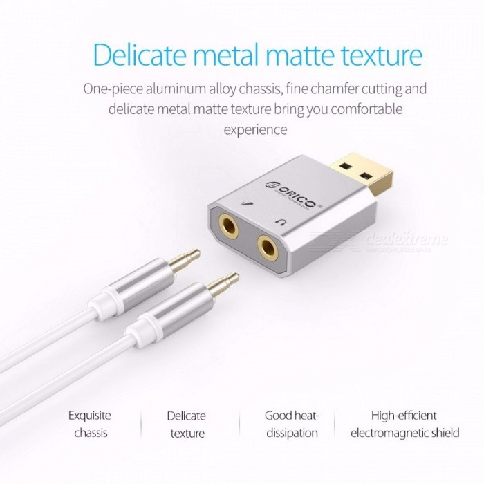 ORICO SK02 External USB Sound Card, Stereo Mic Speaker Headset Audio Jack 3.5mm Mini Cable Adapter w/ Free Drive for PC Laptop