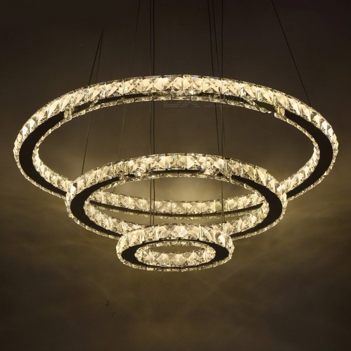 Chic Modern Minimalist American Style LED Crystal Chandelier Light Hanging Ceiling Pendant Lamp For Living Room Cool White 2Ring 20cm 40cm