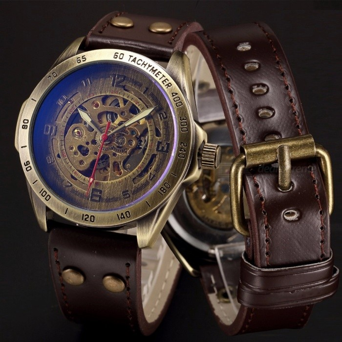 Steampunk Skeleton Automatic Mechanical Watch, Retro Bronze Antique Leather Self Widing Wrist Watch Clock for Men