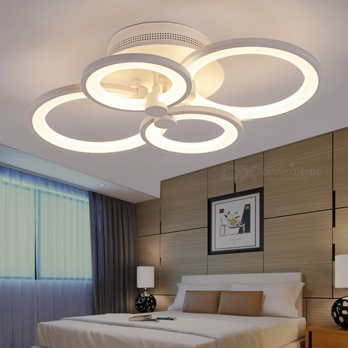 Ring Shape White Finished Chandeliers, LED Circle Modern Ceiling Hanging Lamp Light for Living Room Indoor Lighting