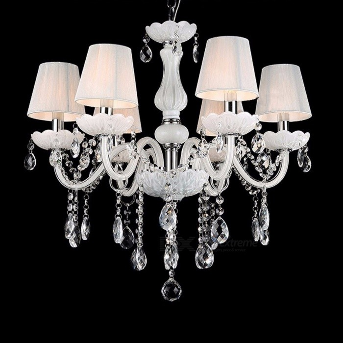 New modern white crystal chandeliers ceiling hanging light lamp for new modern white crystal chandeliers ceiling hanging light lamp for livingroom bedroom indoor lighting decoration 6light aloadofball Image collections