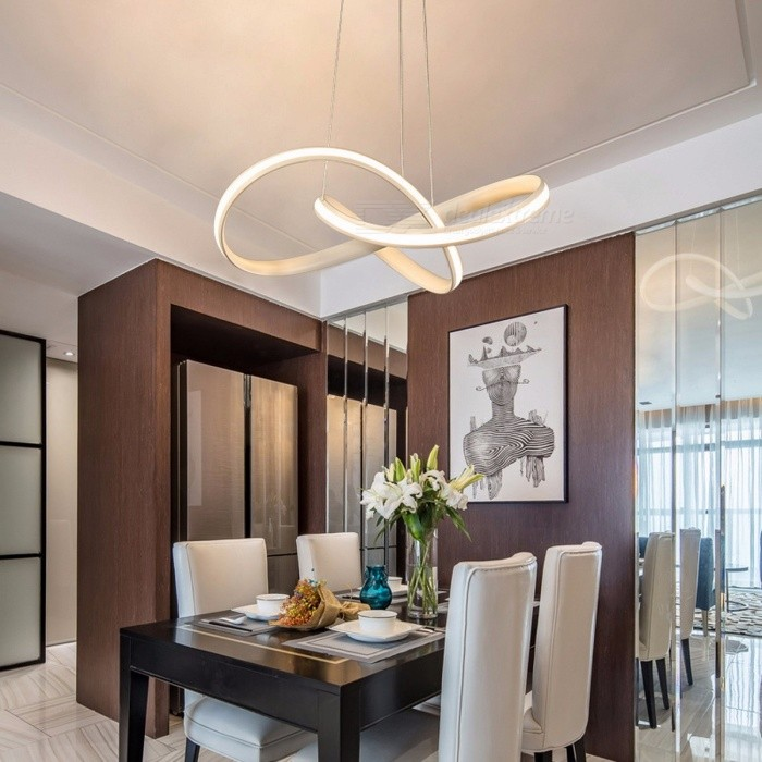 LED Modern Chandelier for Kitchen Dining Room Living Room Suspension Luminaire Hanging White Black Bedroom Chandeliers Fixtures